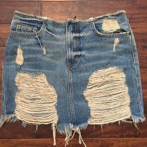 NWT Carmar Destroyed Denim Skirt sz 26 from LF!!